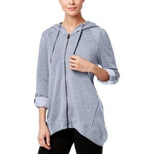 Calvin Klein Fleece Handkerchief-Hem Hoodie Quartz